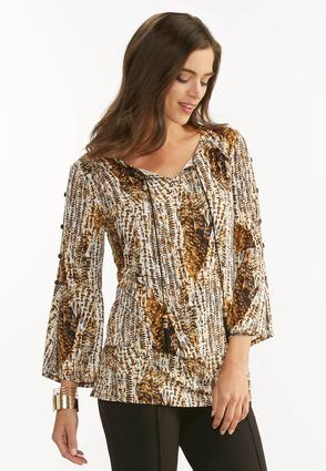 Button Sleeve Abstract Poet Top