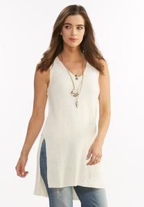 Ribbed Hem Tabard Sweater- Plus