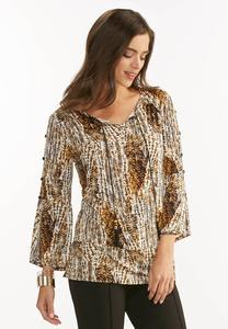 Button Sleeve Abstract Poet Top- Plus