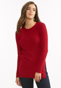 Ribbed Knit Tunic Sweater