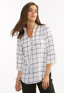 Windowpane Tie Neck Top