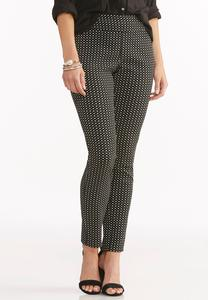 Square Print Slim Ankle Pants