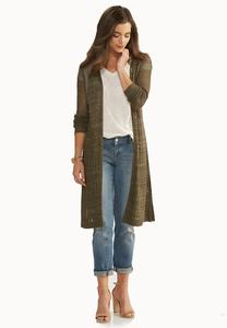 Pointelle Knit Duster Cardigan-Plus