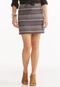 Geo-Tribal Faux Wrap Mini Skirt