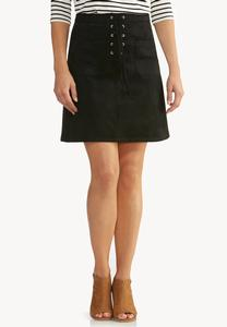Faux Suede Lace Up A-Line Skirt