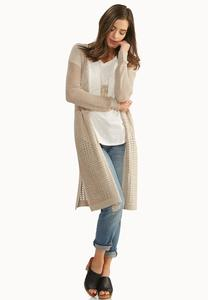 Pointelle Knit Duster Cardigan