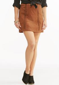 Whipstitch Faux Suede A-Line Skirt