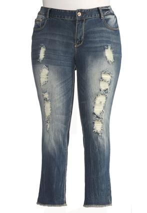Frayed Hem Distressed Skinny Jeans- Plus