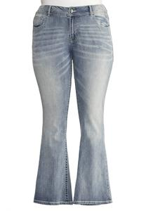 Peek-A-Boo Pocket Bootcut Jeans-Plus