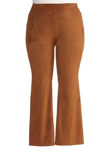 Faux Suede Pull-On Flare Pants-Plus