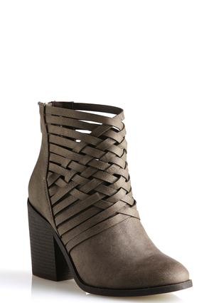 Lattice Strap Ankle Boots