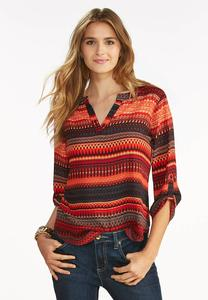 Tribal Striped High-Low Popover Top