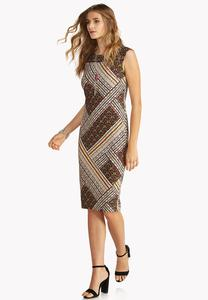 Abstract Tile Print Midi Dress
