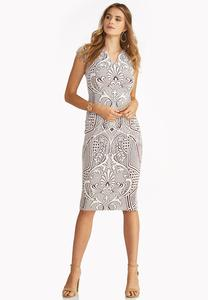 Textured Scroll Midi Dress