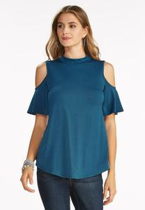 Cold Shoulder Mock Neck Top