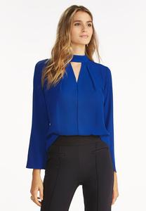 Cutout Mock Neck Top-Plus