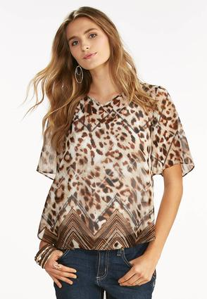 Chevron Bordered Leopard High- Low Top