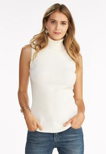 Ribbed Turtleneck Sweater Tank