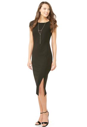 Asymmetrical Slit Sheath Dress- Plus Petite