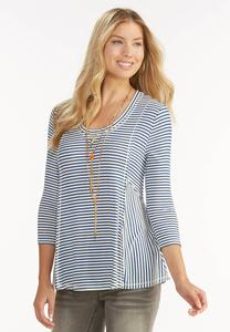 Striped Ribbed Swing Top