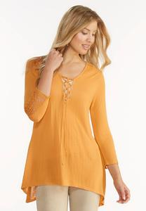 Crochet Inset Lace Up Tunic