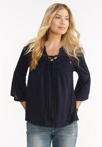 Lace Up Crochet Inset Top