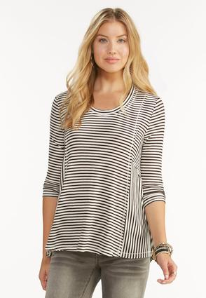 Striped Ribbed Swing Top- Plus