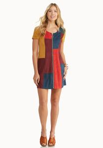 Faux Suede Colorblock Shift Dress