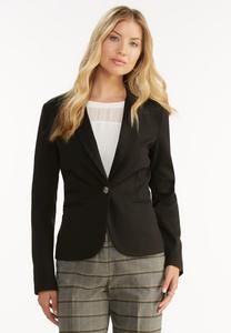 Single Button Ponte Blazer-Plus