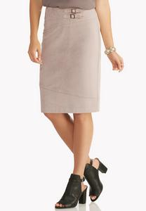 Faux Suede Double Buckle Midi Skirt