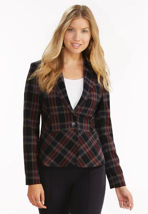 Plaid Blazer- Plus