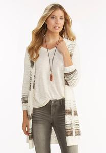 Striped Pointelle Duster Hoodie-Plus