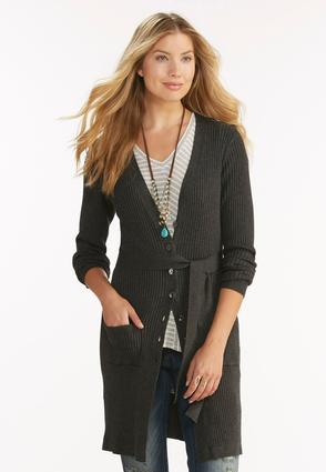 Belted Ribbed Cardigan- Plus