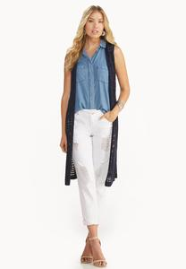 Mixed Pointelle Duster Vest-Plus