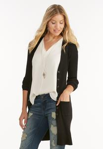Belted Ribbed Duster Cardigan