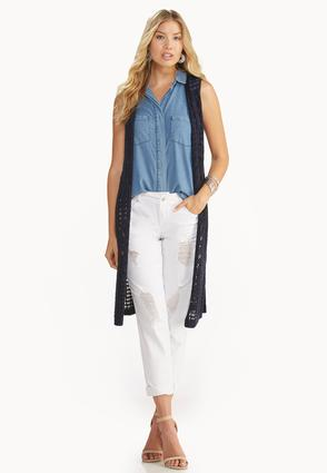 Mixed Pointelle Duster Vest