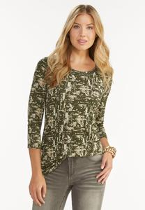 Embellished Camouflage Print Top