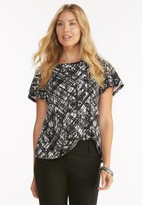 Graphic Print Ponte Knit Top