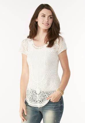 Curved Hem Crochet Top