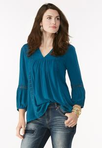 Daisy Trim High-Low Poet Top