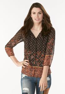 Border Print Button Down Poet Top-Plus