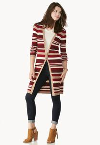 Striped Ribbed Knit Duster Cardigan