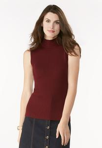 Ribbed Mock Neck Sweater Tank-Plus