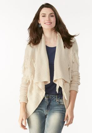 Cable Knit Fringe Draped Cardigan