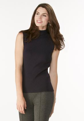 Ribbed Mock Neck Sweater Tank