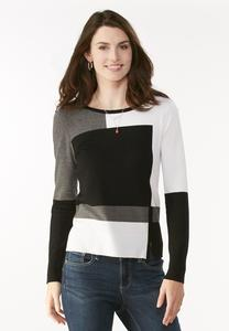 Colorblock Zip Hem Pullover Sweater