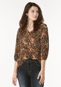 Abstract Animal Print Poet Top- Plus