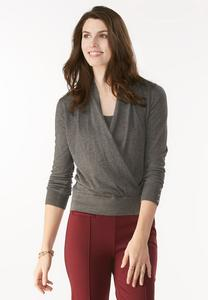 Faux Wrap Pullover Sweater- Plus
