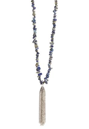 Chipped Stone Tassel Pendant Necklace