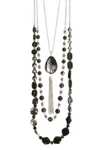 Stone Tassel Pendant Layered Necklace